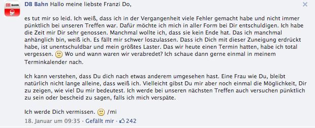 Artikelbild: Facebook Kommentar Antwort der DB Bahn