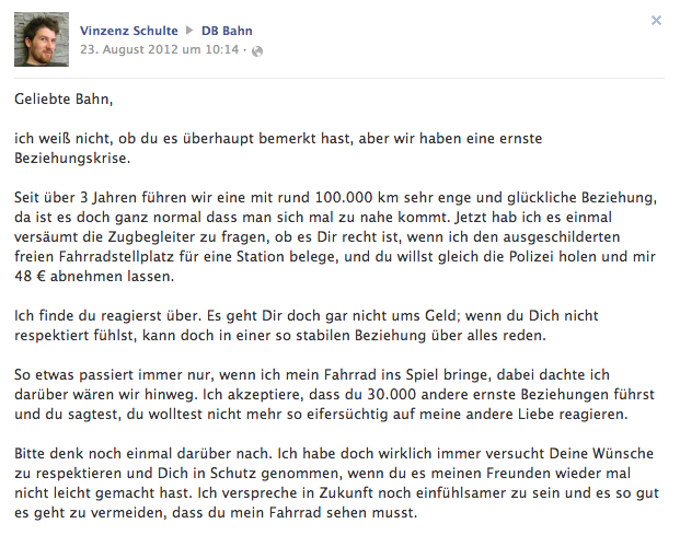Artikelbild: Facebook Beitrag August 2012