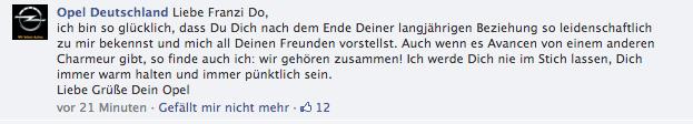 Artikelbild: Facebook Kommentar Opel