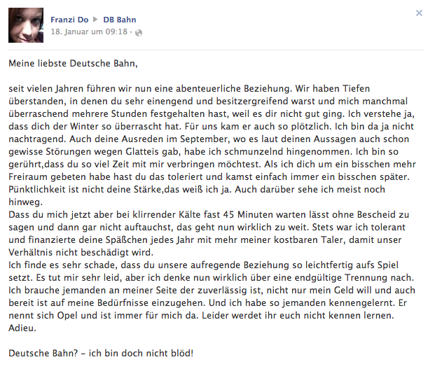 Artikelbild: Facebook Posting Deutsche Bahn
