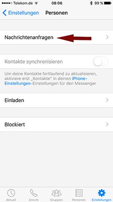 Faceboook Messenger Nachrichtenanfragen