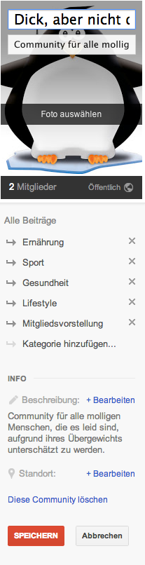 GooglePlus Community Einstellungen