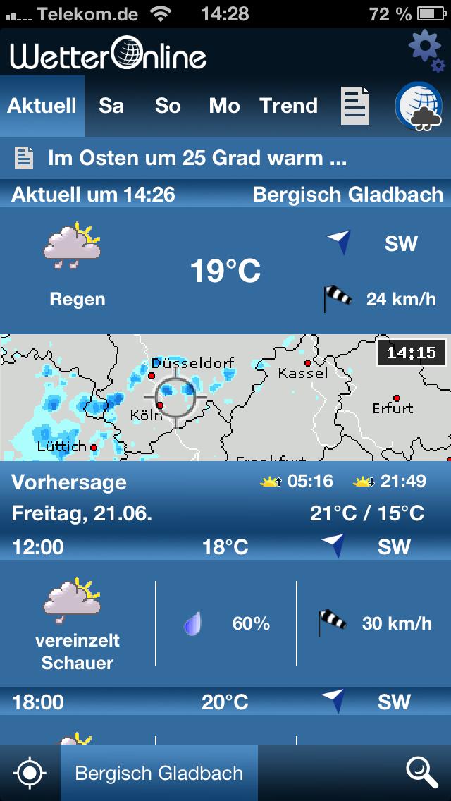 WetterApp Startbildschirm