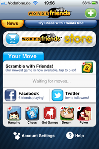 """WORDS with friends"" von Zynga - iPhone-App Startbildschirm"