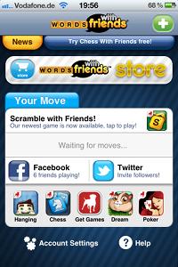 """""""WORDS with friends"""" von Zynga - iPhone-App Startbildschirm"""