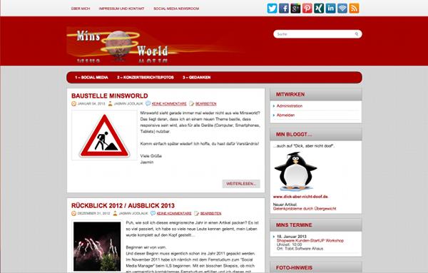 Screenshot: Minsworld.de bis Anfang 2013