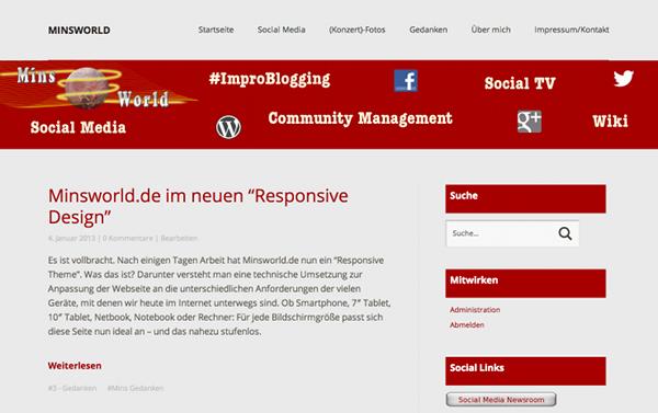 Screenshot: Minsworld.de im neuen Design - groß