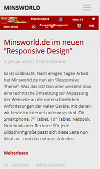 Screenshot: Minsworld.de im neuen Design - klein