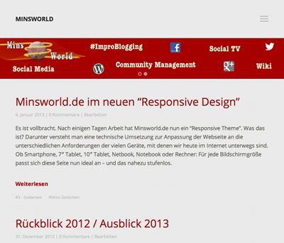 Screenshot: Minsworld.de im neuen Design - mittel